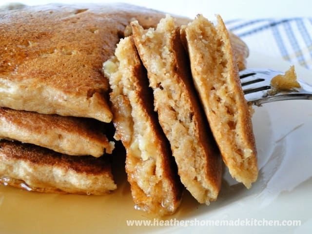 Close up side view of triangle cut Whole Wheat Banana Pancakes.