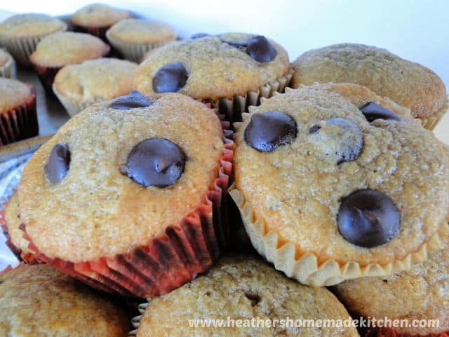 Banana Bread Dark Chocolate Chip Muffins in a pile.