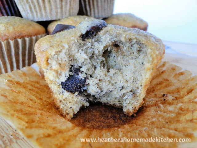 Banana Bread Dark Chocolate Chip Muffins close up with bite taken out.