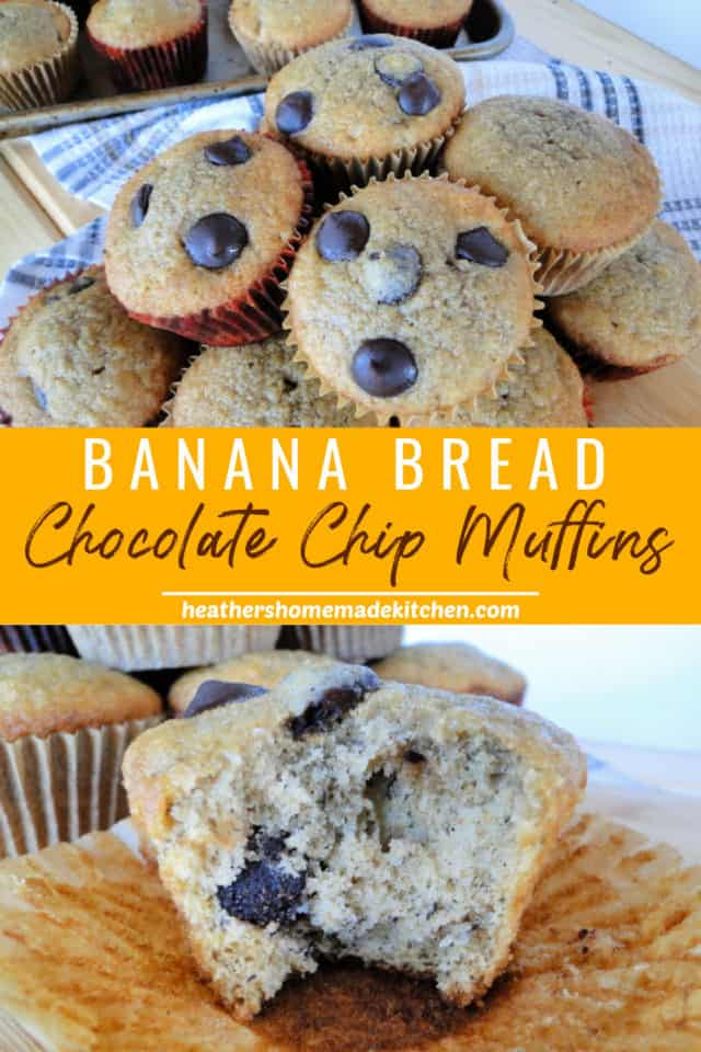 Banana Bread Dark Chocolate Chip Muffins in a pile and with a bite taken out of one.