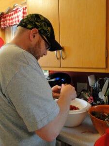 Strawberries chad helping