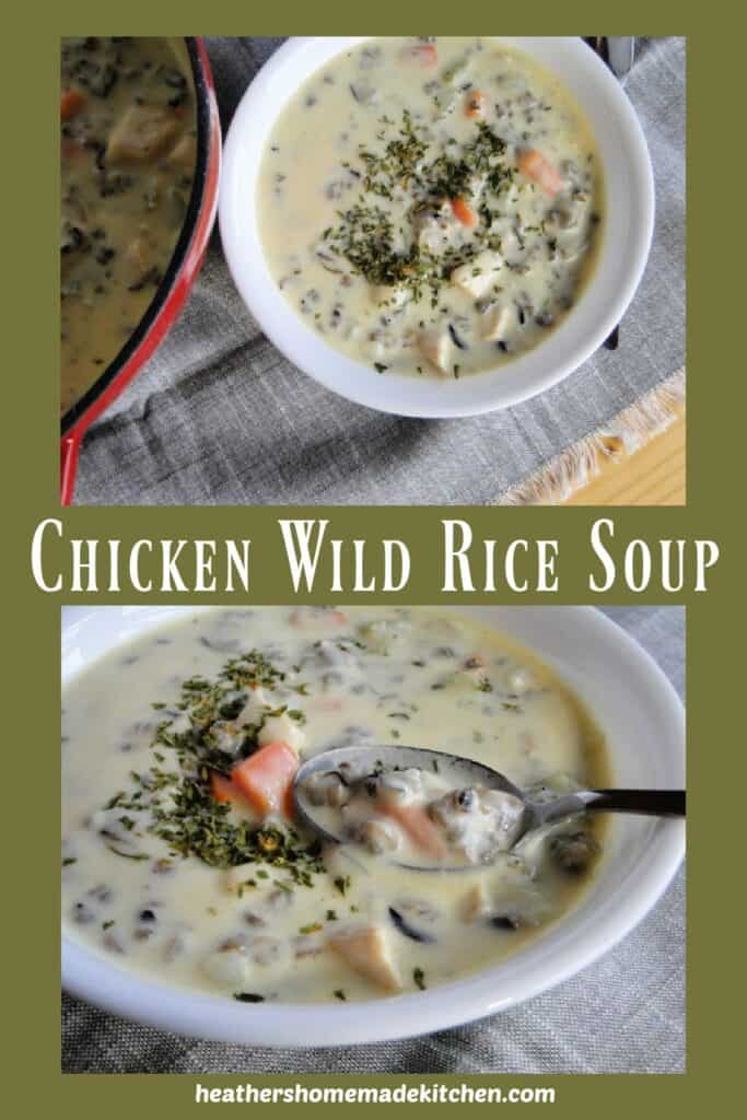 Chicken Wild Rice Soup in white bowl and close up with spoon.