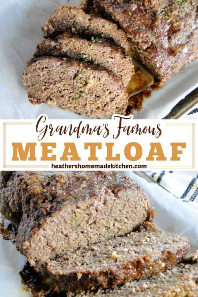 Grandma's Famous Meatloaf slices and view of inside.