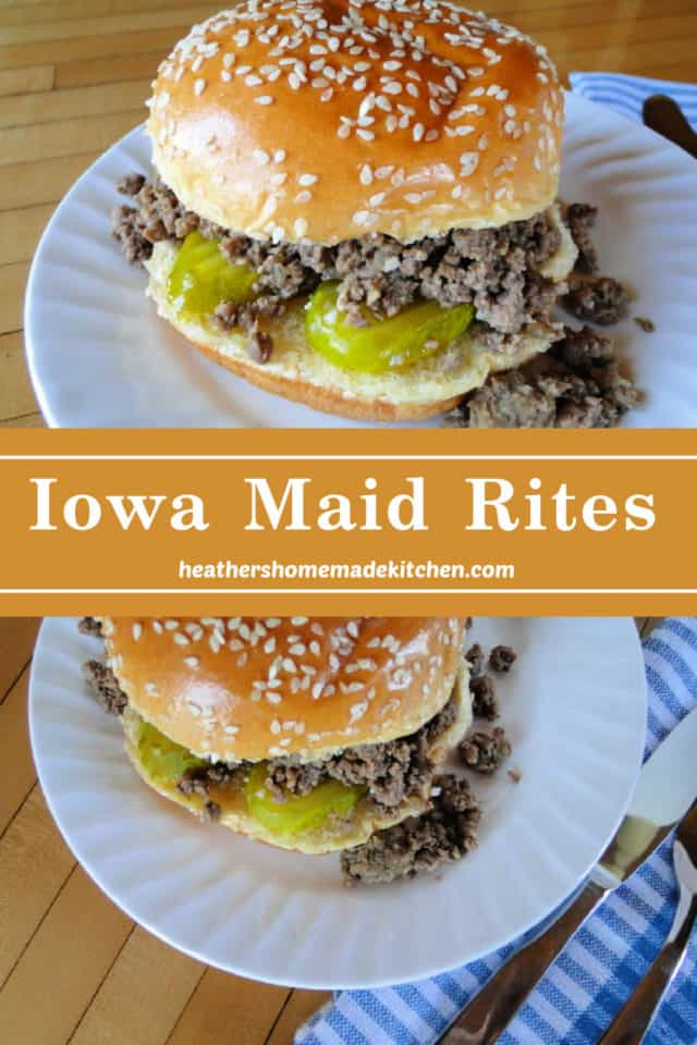 Close up view and top view of Iowa Maid Rites with pickles on white round plate.