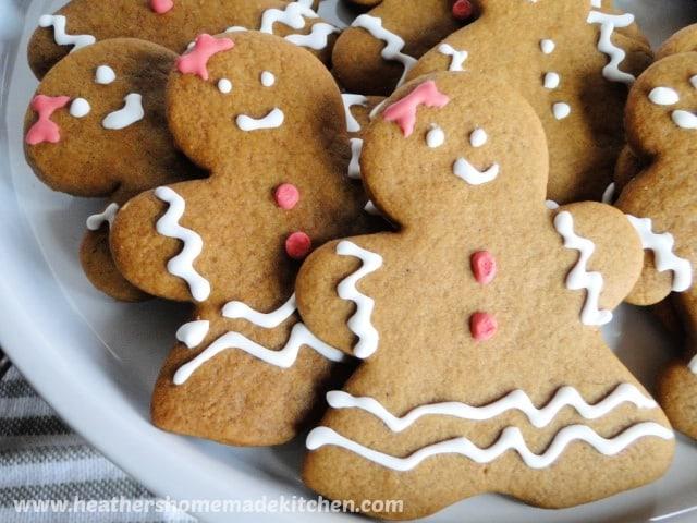 Gingerbread Men Cookies close up view.