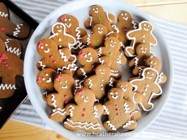 Top view of Gingerbread Men Cookies on platter.