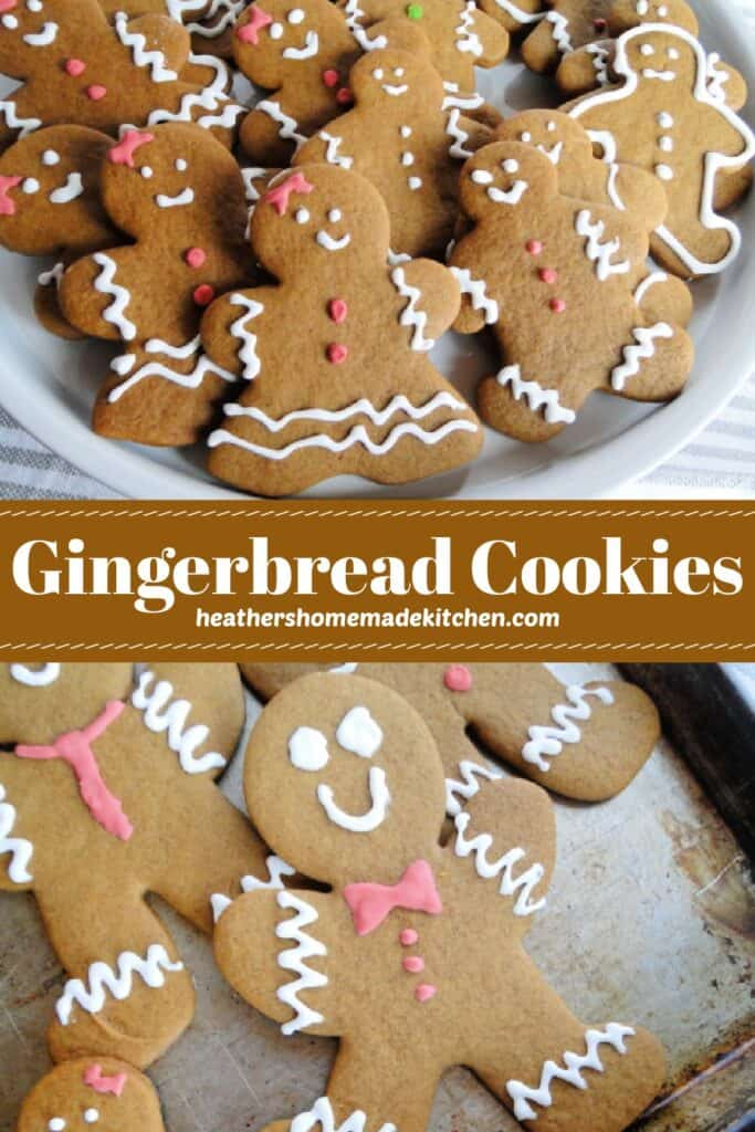 Gingerbread Men Cookies on platter and on sheet pan.