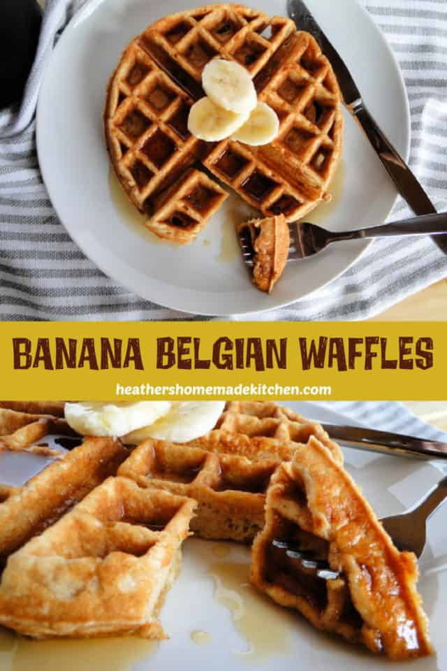Top view of Banana Belgian Waffles on white plate with bite on fork with close up of bite.