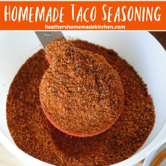 Homemade Taco Seasoning Pin image of full tablespoon in white bowl.