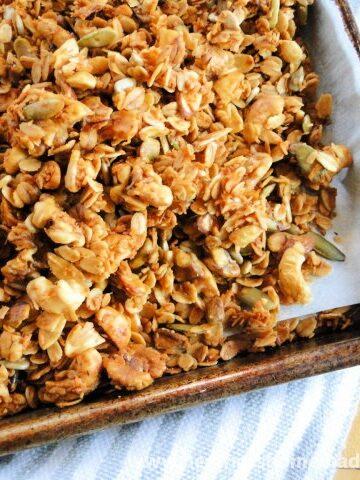 Homemade Granola on sheet pan.