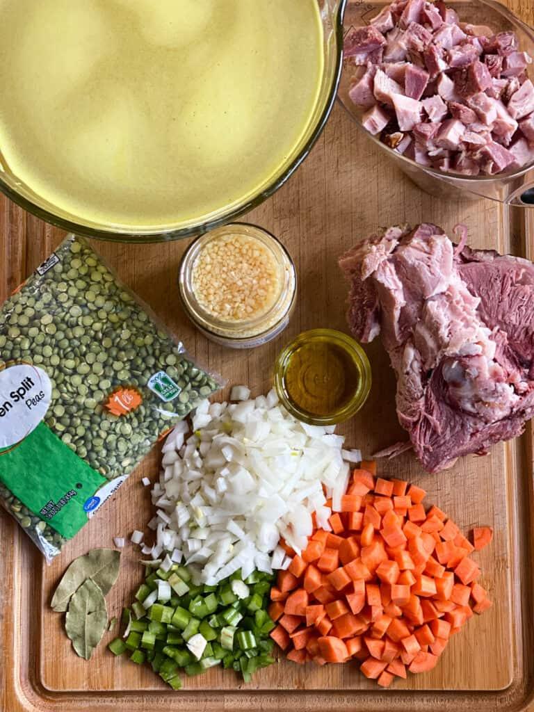 Instant pot split pea soup ingredients.