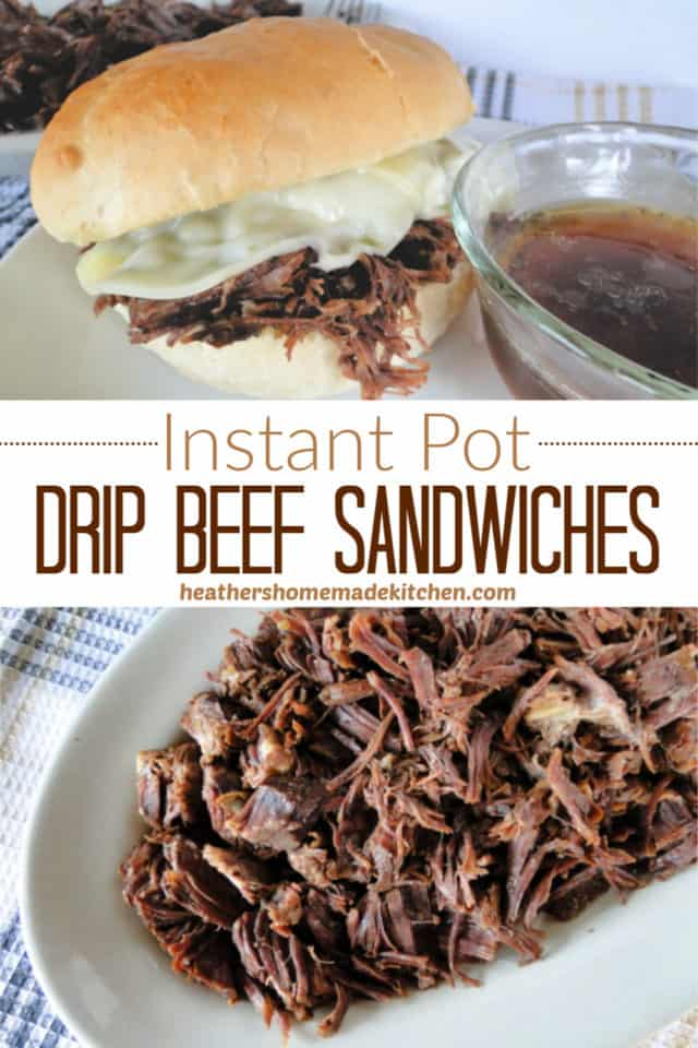 Instant Pot Drip Beef Sandwiches with bowl of au jus and platter of shredded beef.