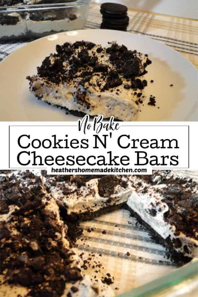 Close up of Slice of No Bake Cookies N' Cream Cheesecake Bars and inside glass dish.
