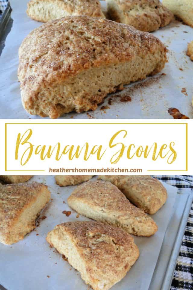 Close up side view of Banana Scones and cinnamon sugar topping.