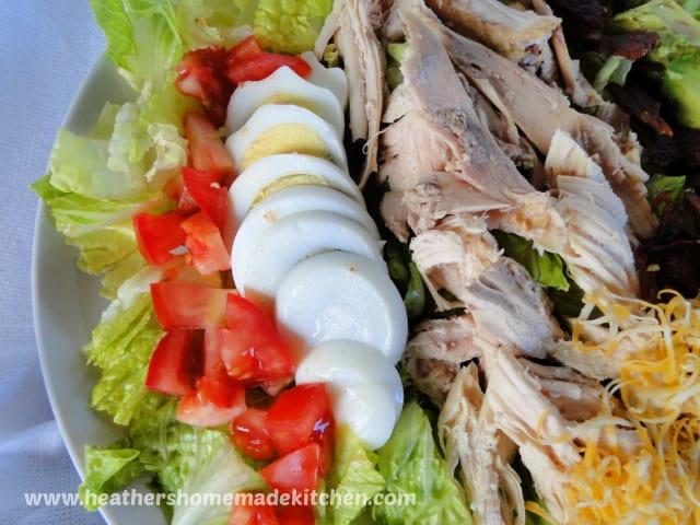 Roast Chicken Cobb Salad with hard boiled eggs and tomatoes