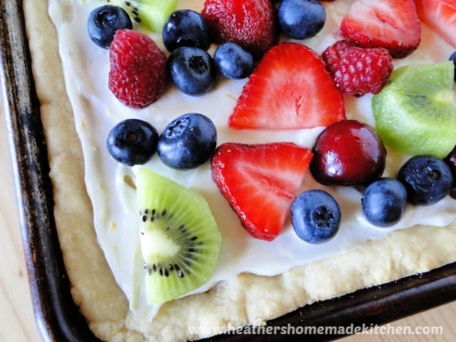 Close up corner view of Fresh Fruit Pizza