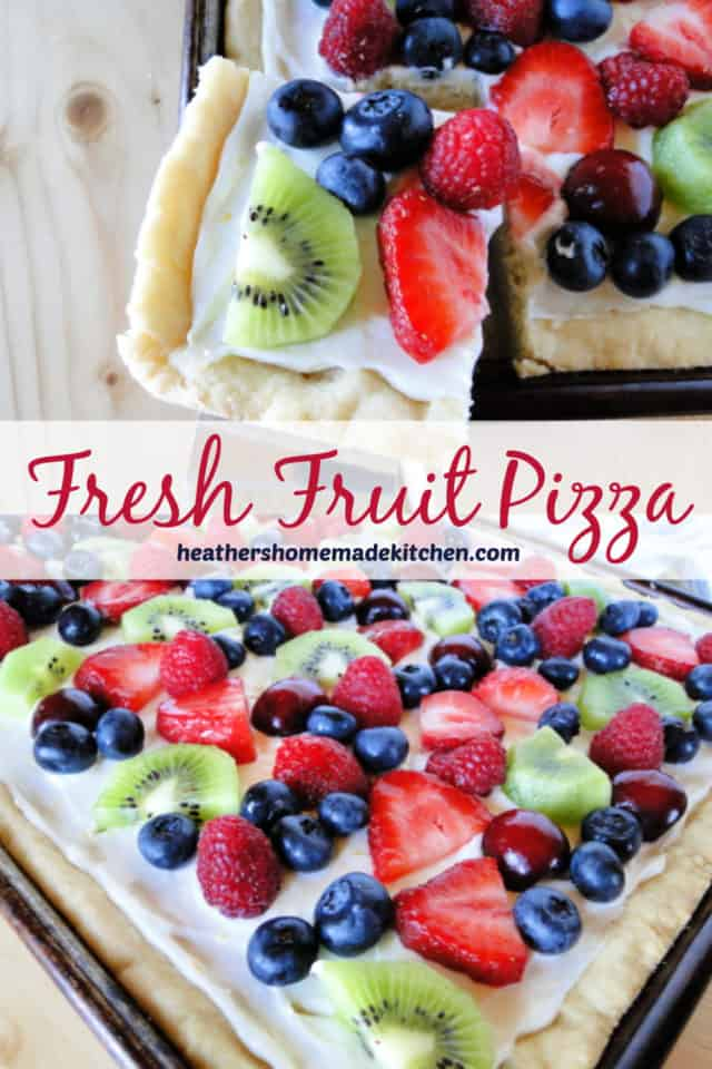 Sliced corner piece of Fresh Fruit Pizza and front view with kiwi, blueberries, and strawberries.