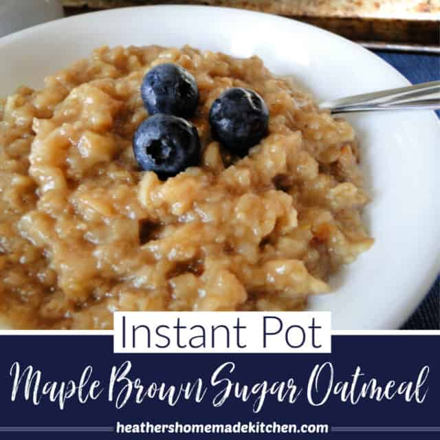 Instant Pot Maple Brown Sugar Oatmeal close up view with spoon and garnished with 3 blueberries.