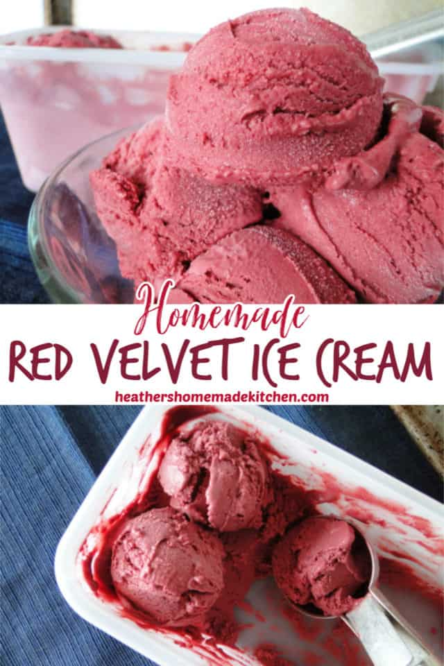 Homemade Red Velvet Ice Cream scoops in rectangle dish and close up view of scoops in clear bowl.