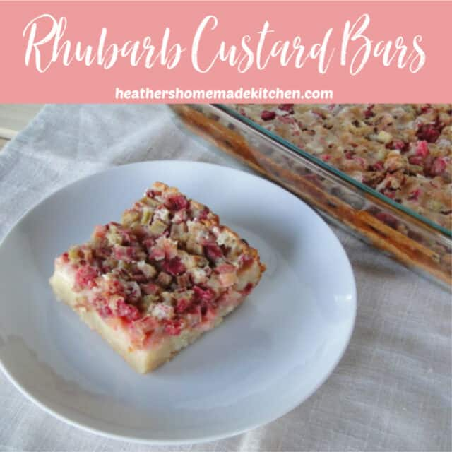 Baking dish of Rhubarb Custard Bars next to one slice on white round plate.