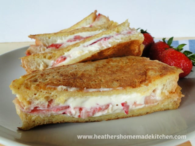 Close up view of sliced Strawberries & Cream Stuffed French Toast