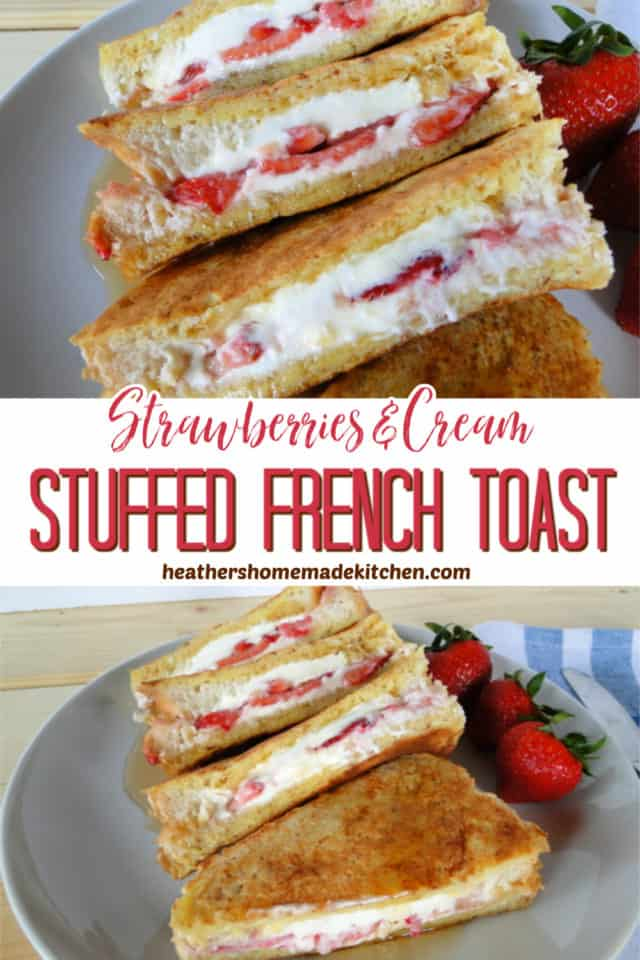 Top view and side view of Strawberries & Cream Stuffed French Toast cut in half and drizzled with syrup.