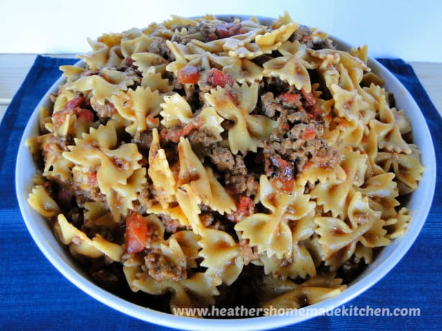 Side view of Taco Pasta Skillet in large bowl.