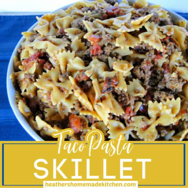 Front view of Taco Pasta Skillet in large round bowl.