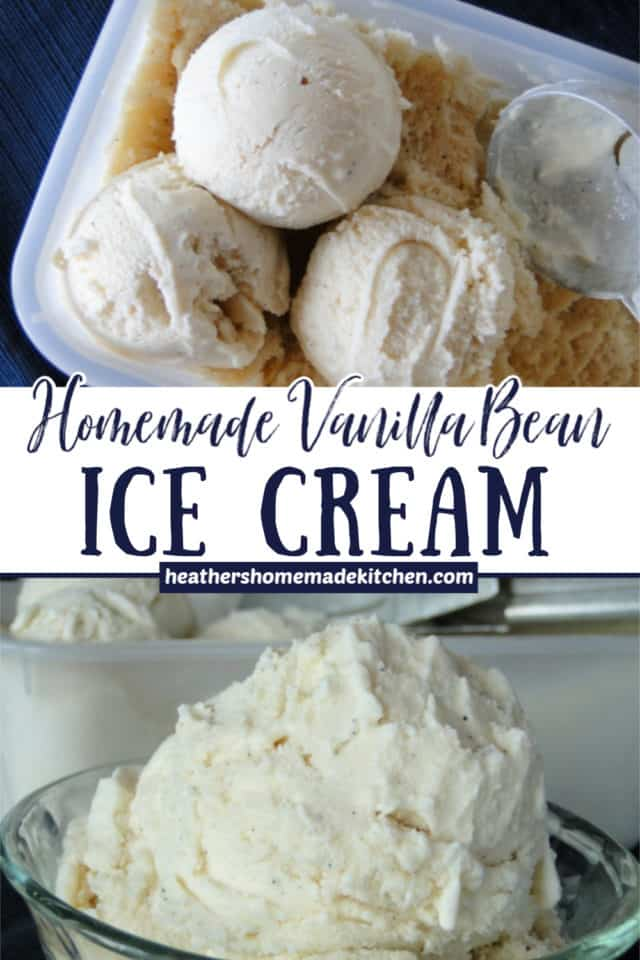 Homemade Vanilla Bean Ice Cream scooped into dish and scoops in container with ice cream scoop.