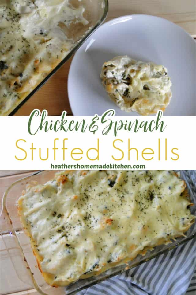Top view of Chicken & Spinach Stuffed Shells in baking dish next to four shells on white round plate.