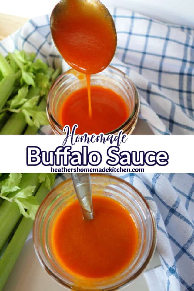 Homemade Buffalo Sauce Pin in mason jar and spoonful of sauce drizzling into jar.