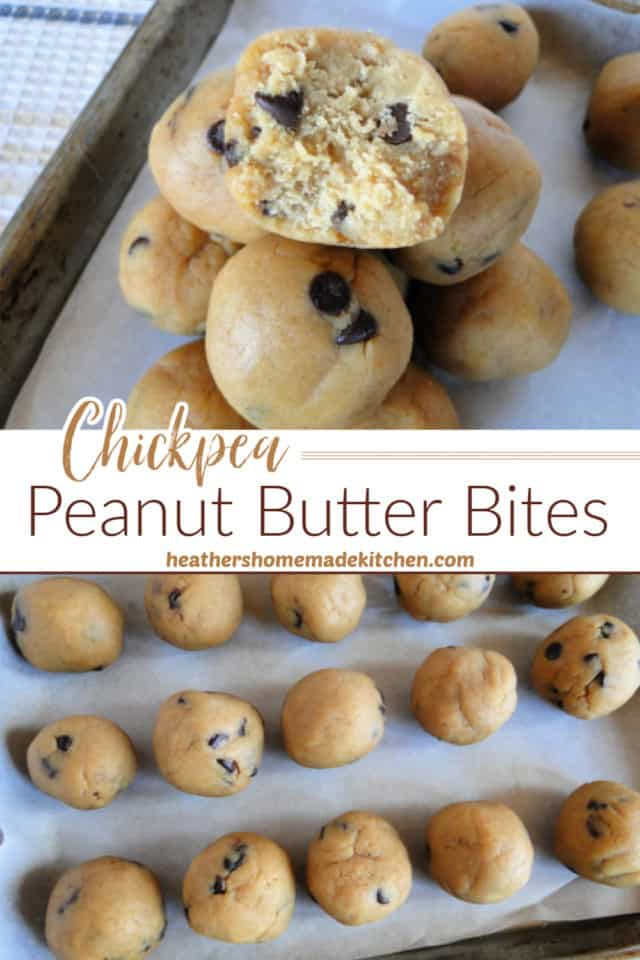 Chickpea Peanut Butter Bites in rows on sheet pan and stacked with bite taken out of top one.