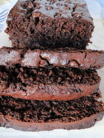 Chocolate Banana Bread front view with 3 slices.