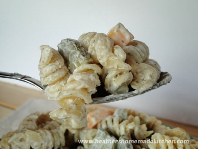 Close up view of spoonful of Dill Pickle Pasta Salad