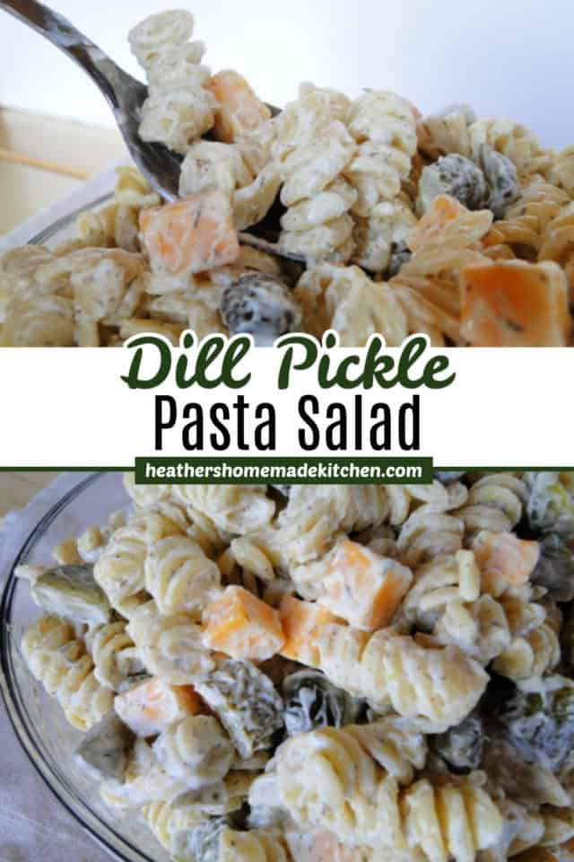 Dill Pickle Pasta Salad in glass bowl and on spoon