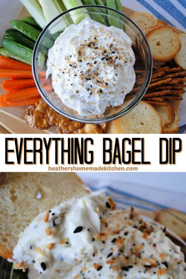 Everything bagel dip surrounded by vegetables and crackers and scooped onto a cracker.