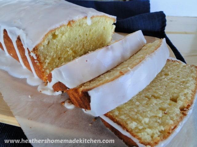 Glazed Lemon Pound Cake with 3 slices.