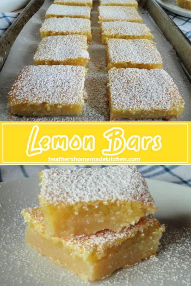 Sliced Lemon Bars on sheet pan and stacked lemon bars on plate.