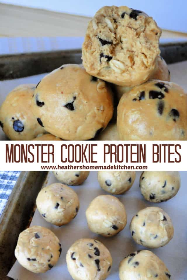 Monster Cookie Protein Bites in rows on sheet pan and piled with bite taken out of one.