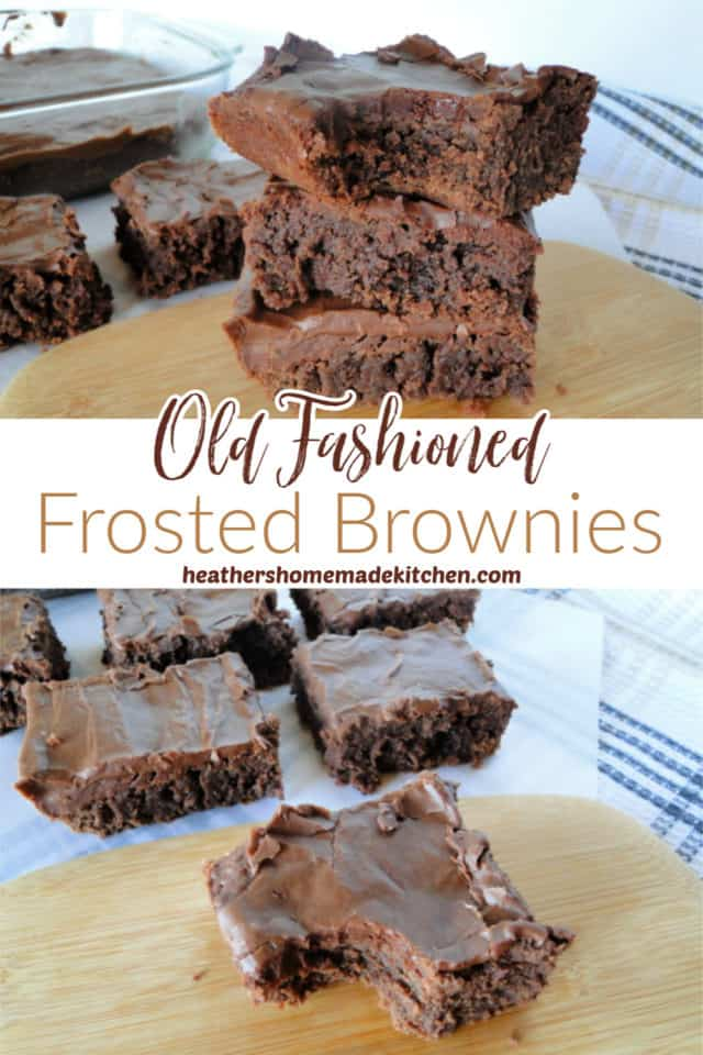 Stacked Old Fashioned Frosted Brownies with bite taken out and slices of brownies on board