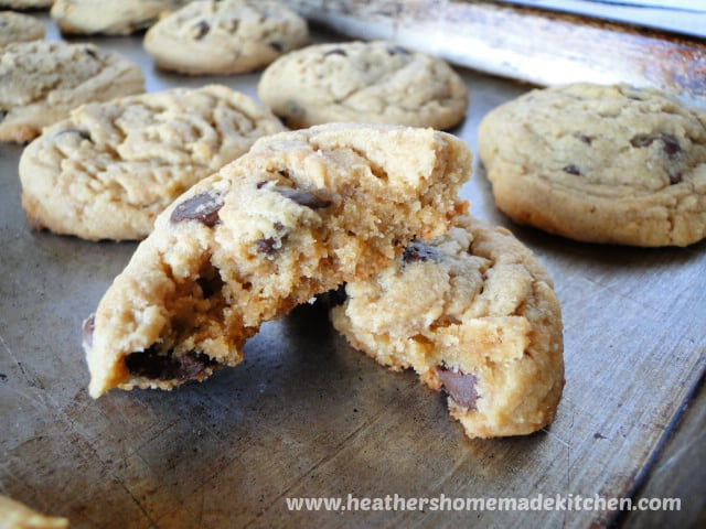 Close up view of Peanut Butter Chocolate Chip Cookies broke in half.