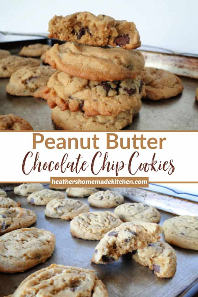 stack a 3 Peanut Butter Chocolate Chip Cookies and rows on a sheet pan.