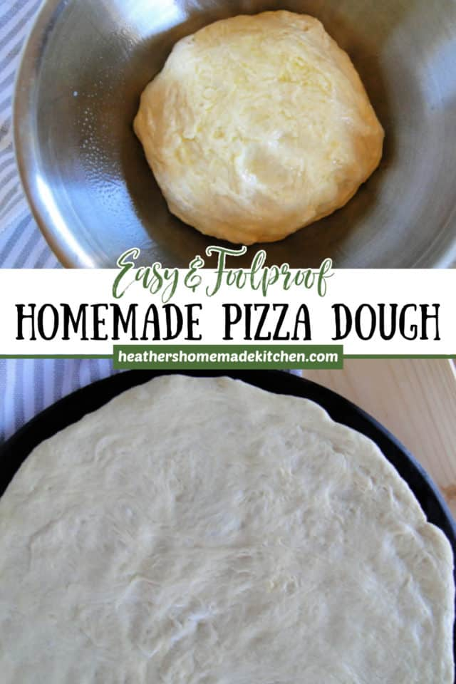 Homemade Pizza Dough no risen in metal bowl and finished dough spread onto a pizza stone.