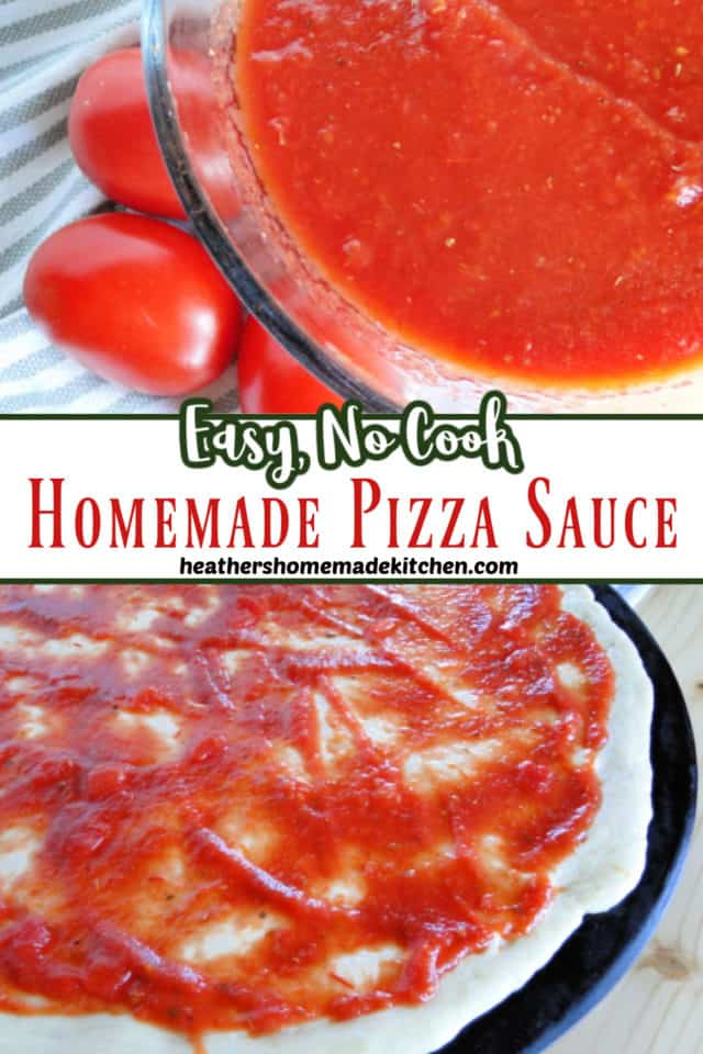 Homemade Pizza Sauce No Cook Pin in glass bowl and spread on top of pizza crust on pizza stone.