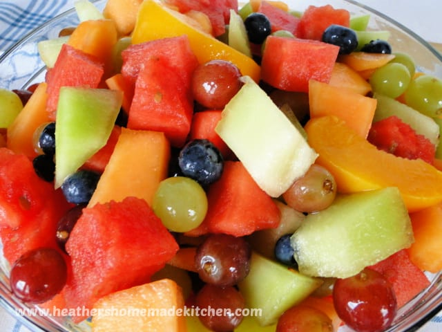 Summer Fruit Salad in clear glass bowl.