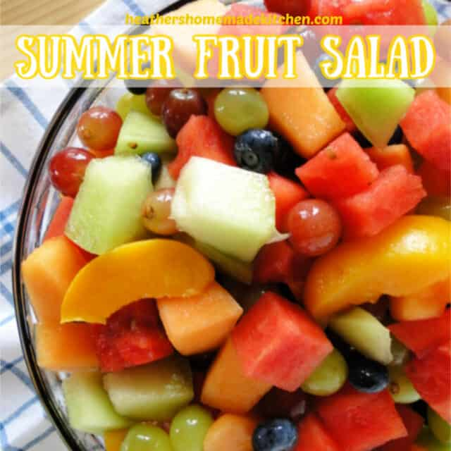 Summer Fruit Salad Pin view from top in clear glass bowl.