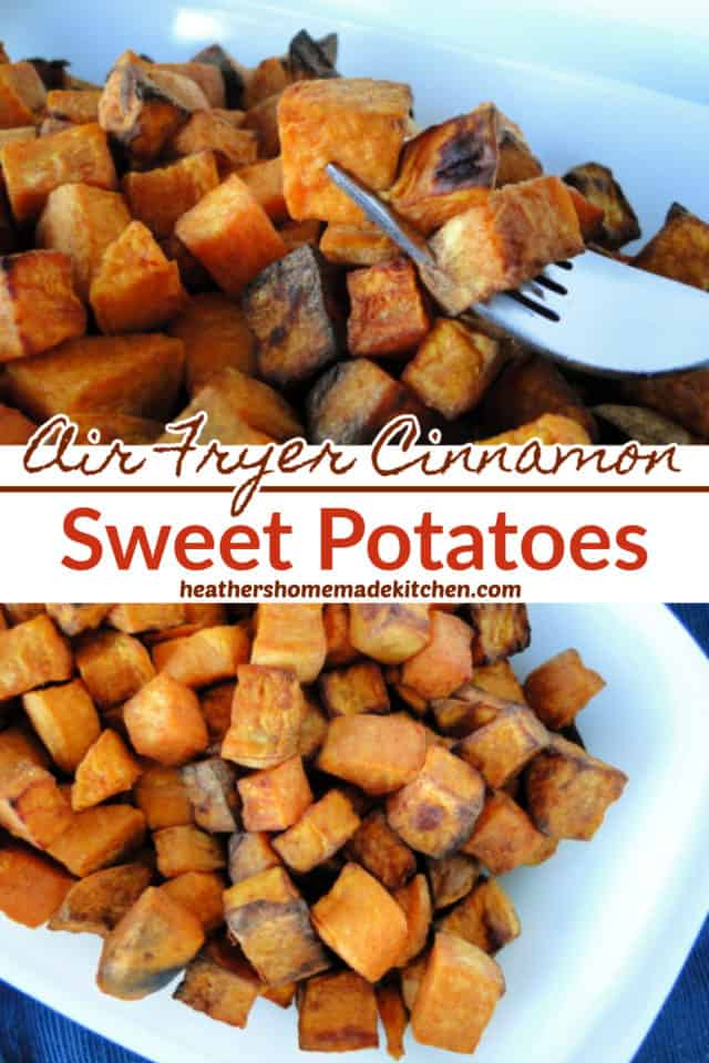 Air Fryer Cinnamon cubed Sweet Potatoes in white bowl with 3 cubes on fork.