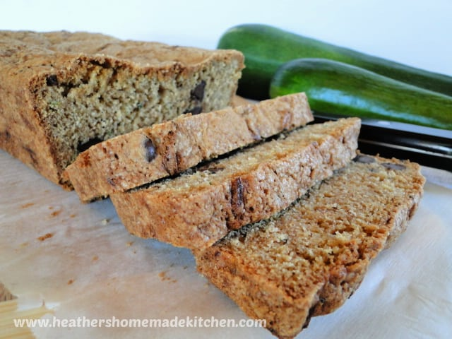 Chocolate Chip Zucchini Bread with 3 slices on bamboo board.