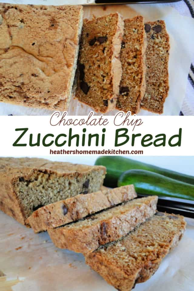 Chocolate Chip Zucchini Bread Pin image with top view and side view of bread with 3 slices.