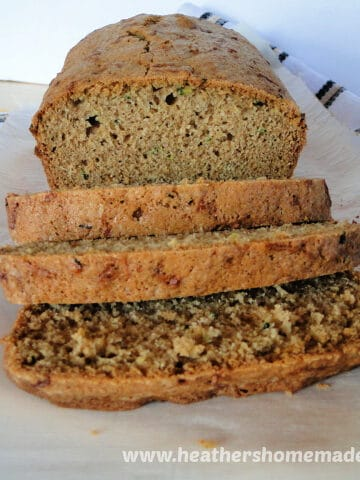 Front view of Classic Zucchini Bread with 3 slices.
